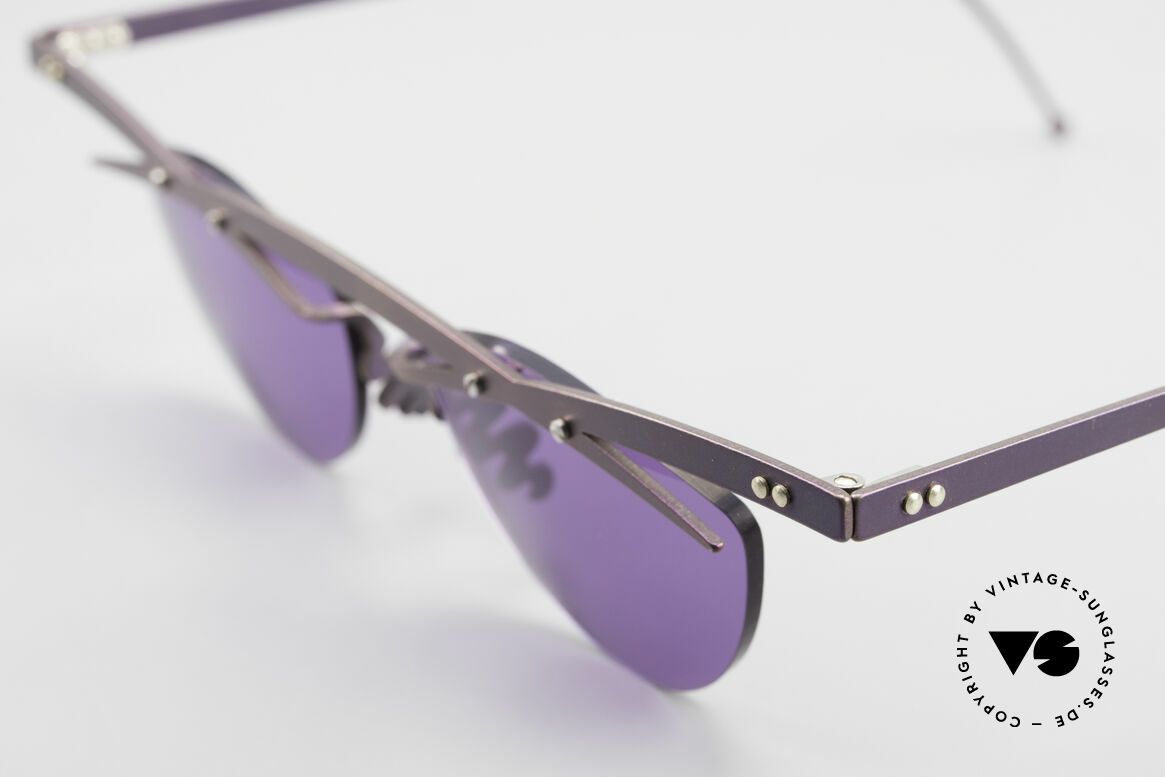 Theo Belgium Tita III 4 XL Crazy Vintage Sunglasses, the purple sun lenses are fixed with screws at the frame, Made for Men and Women