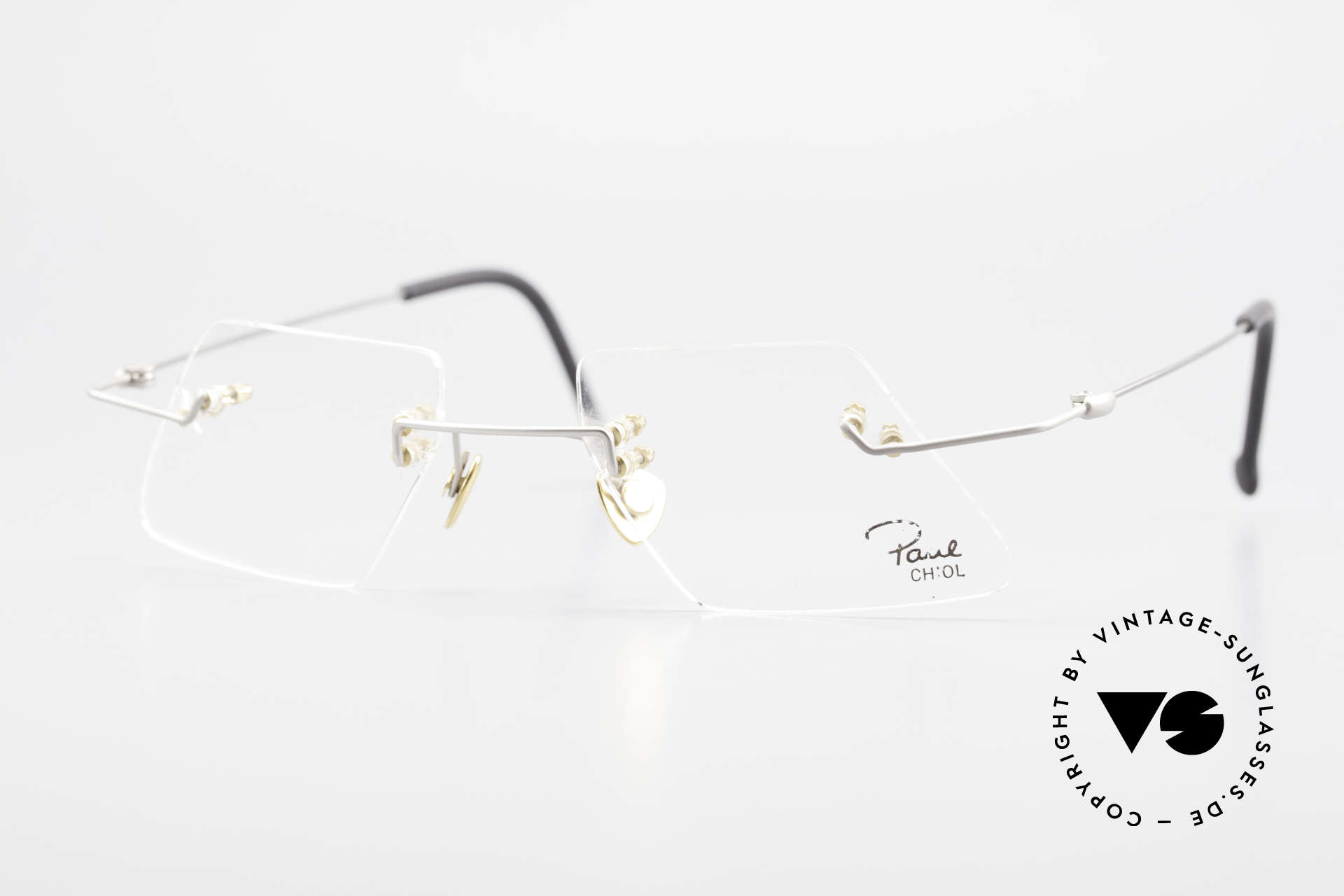 Paul Chiol 2001 Unique Rimless Eyeglasses, vintage 90's Paul Chiol designer eyeglass-frame, Made for Men and Women