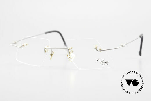 Paul Chiol 2001 Unique Rimless Eyeglasses Details