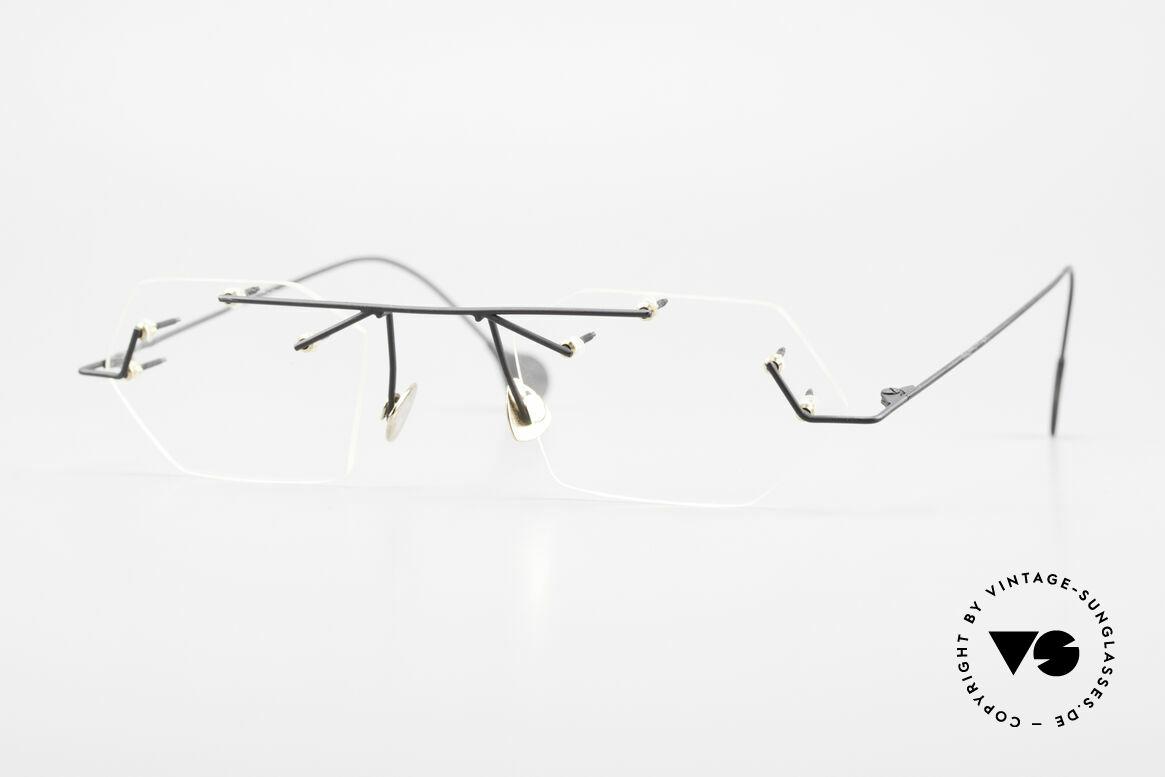 Paul Chiol 1998 Artful Rimless Eyeglasses 90's, vintage 90's Paul Chiol designer eyeglass-frame, Made for Men and Women