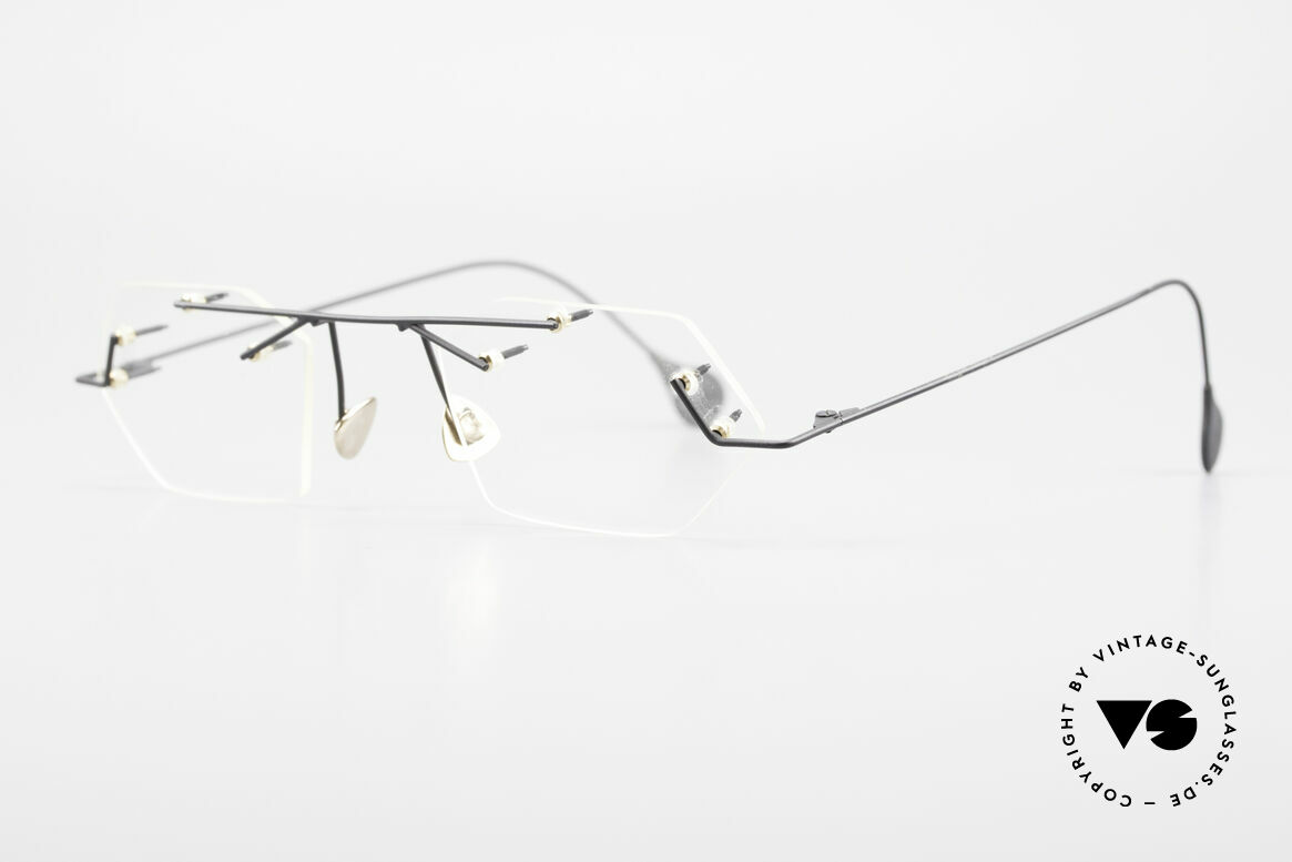 Paul Chiol 1998 Artful Rimless Eyeglasses 90's, filigree & cleverly devised design; simply chichi, Made for Men and Women