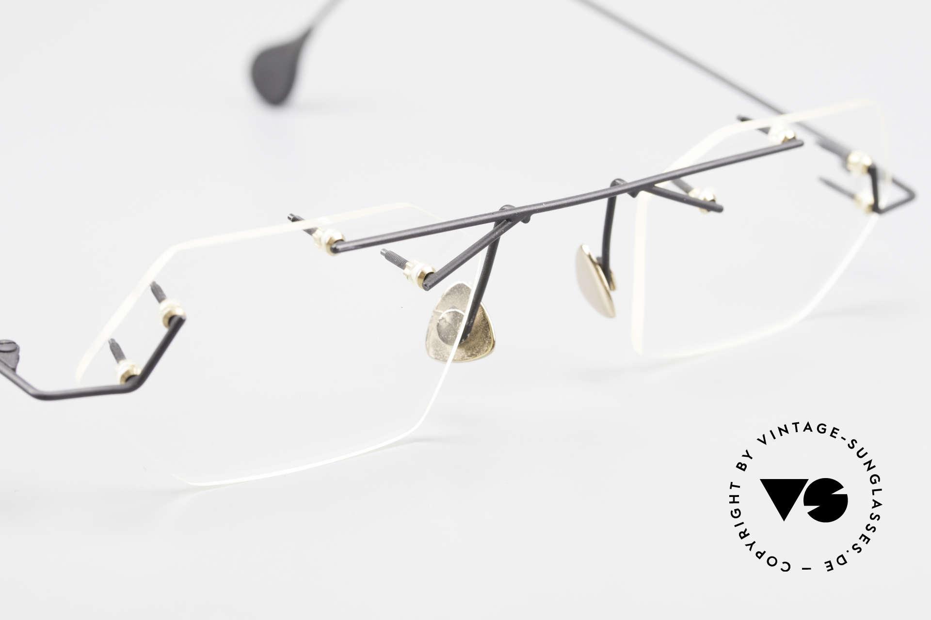 Paul Chiol 1998 Artful Rimless Eyeglasses 90's, demo lenses can be replaced with optical lenses, Made for Men and Women