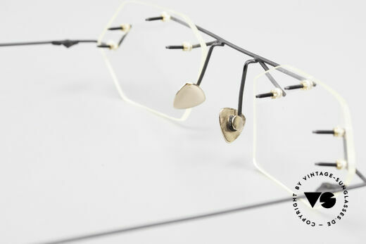 Paul Chiol 1998 Artful Rimless Eyeglasses 90's, your optician can demonstrate his skills, here! ;), Made for Men and Women