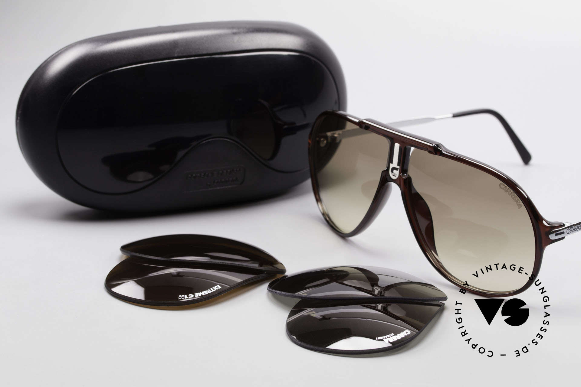 Carrera 5590 3 Sets Interchangeable Lenses, NO RETRO SHADES, but an app. 30 years old ORIGINAL!, Made for Men