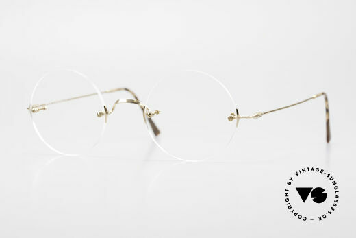 Lunor Classic Round GP Steve Jobs Glasses Rimless Details