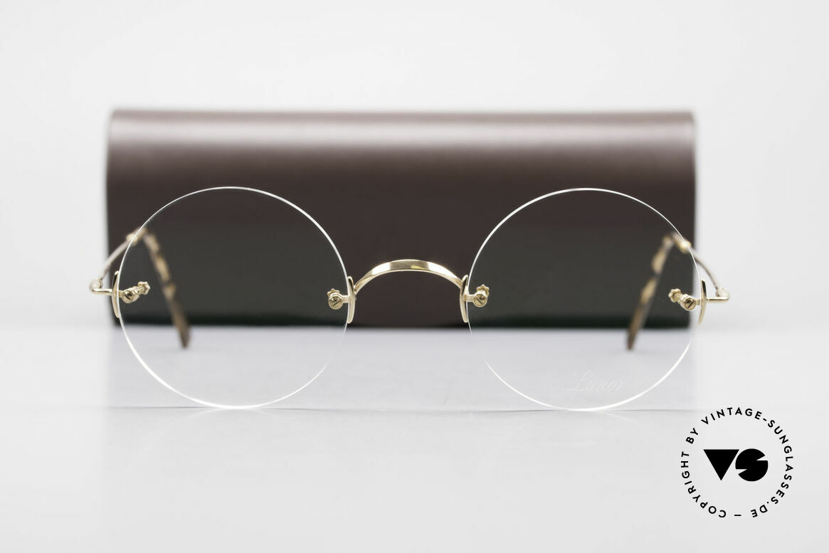 Lunor Classic Round GP Steve Jobs Glasses Rimless, Size: small, Made for Men and Women