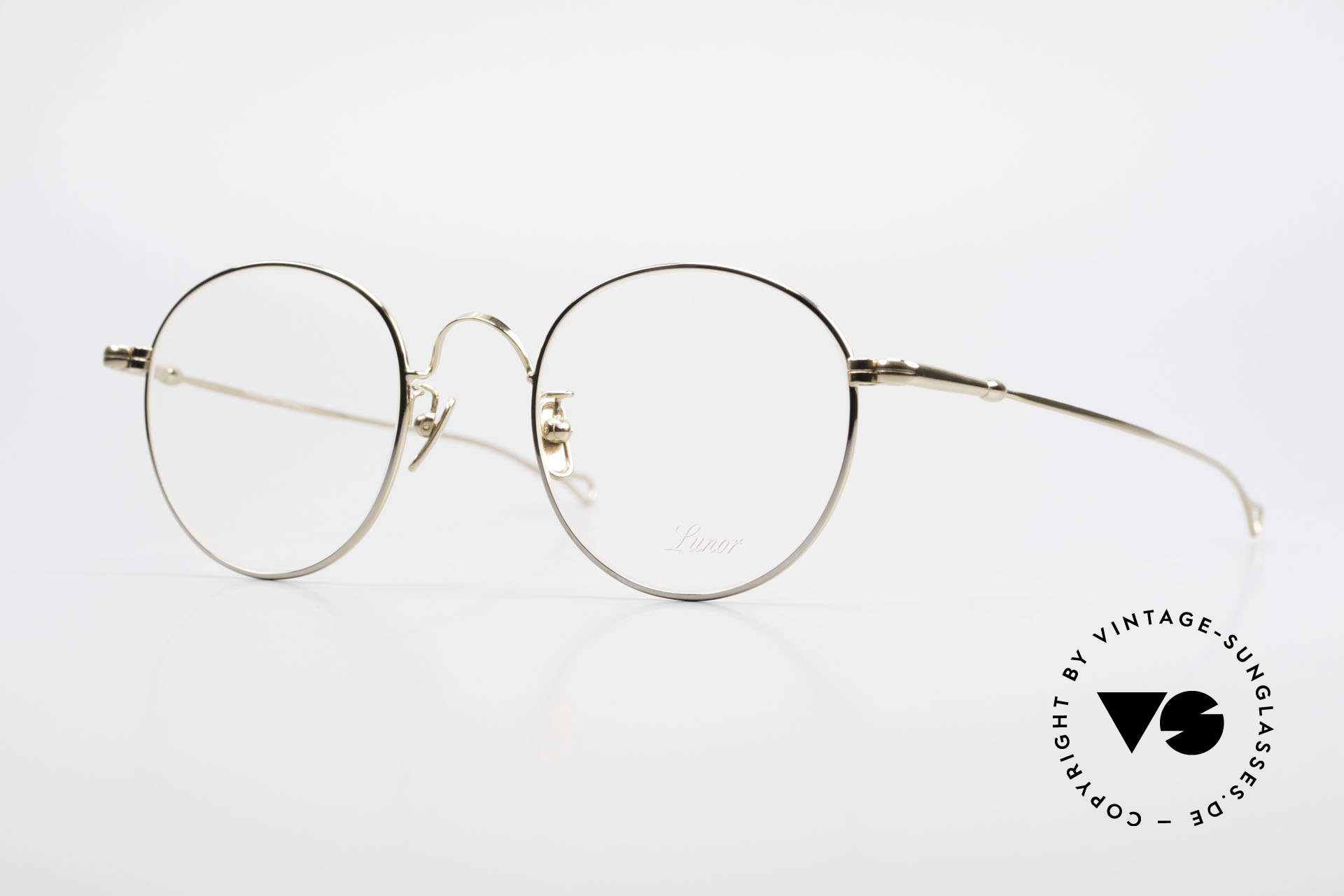 Lunor V 111 Men's Panto Frame Gold Plated, LUNOR: honest craftsmanship with attention to details, Made for Men