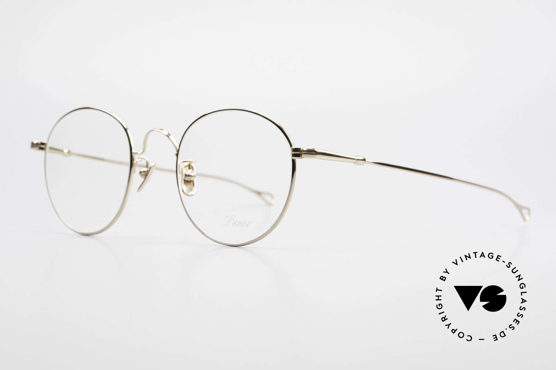 Lunor V 111 Men's Panto Frame Gold Plated, model V 111: gold-plated Panto glasses for gentlemen, Made for Men