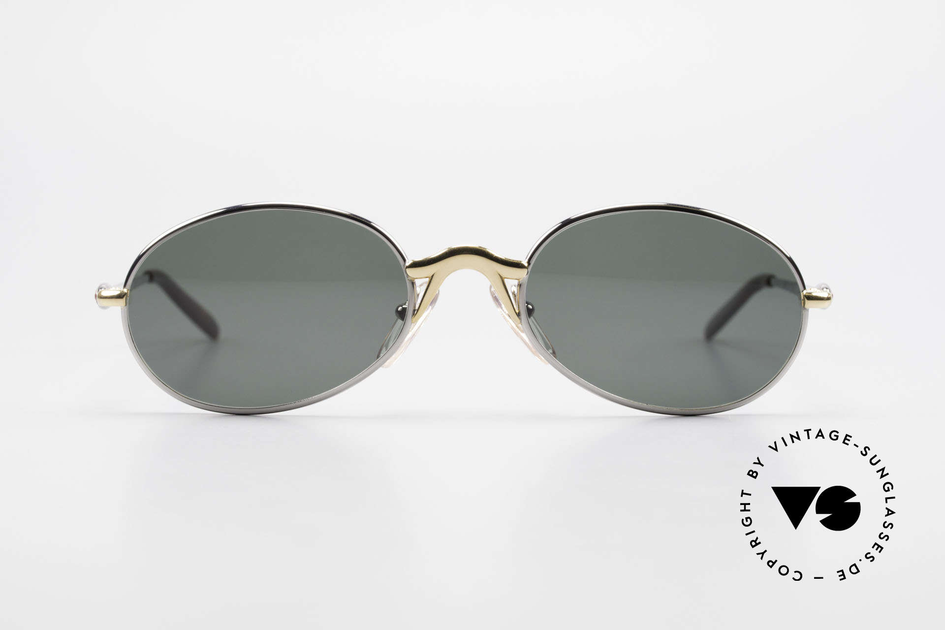 Bugatti 22126 Rare Oval 90's Vintage Shades, classic bicolored frame finish: silver and gold-plated, Made for Men