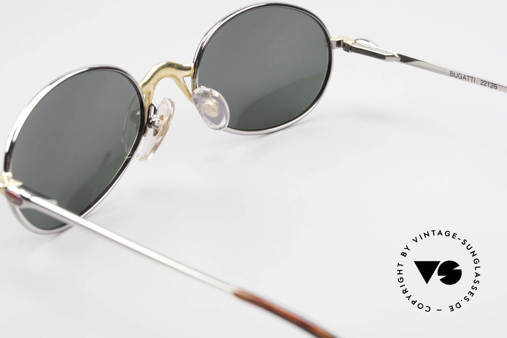 Bugatti 22126 Rare Oval 90's Vintage Shades, with solid G15 green sun lenses for 100% UV protection, Made for Men