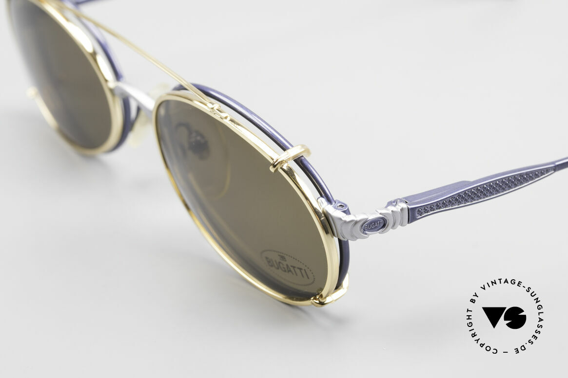 Bugatti 14164 Blue Frame With Golden Clip, blue metallic/silver vs. gold; never been worn, Made for Men