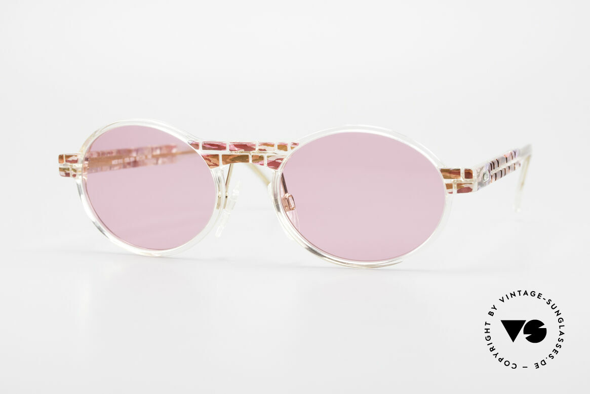 Cazal 510 Oval Pink Vintage Sunglasses, rare Cazal vintage glasses of the Crystal 500's Series, Made for Women