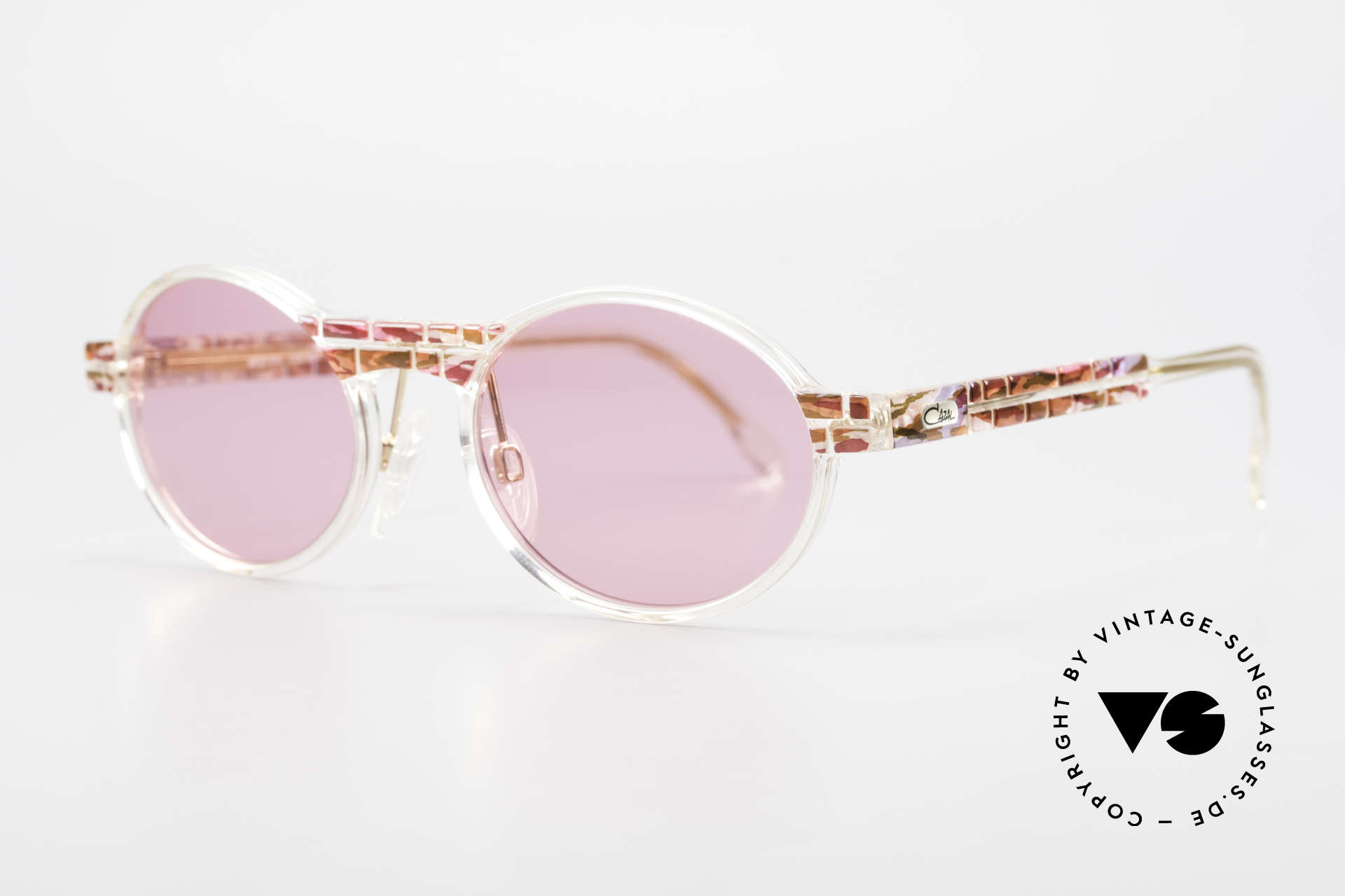 Cazal 510 Oval Pink Vintage Sunglasses, special edition with crystal clear frame - truly unique!, Made for Women