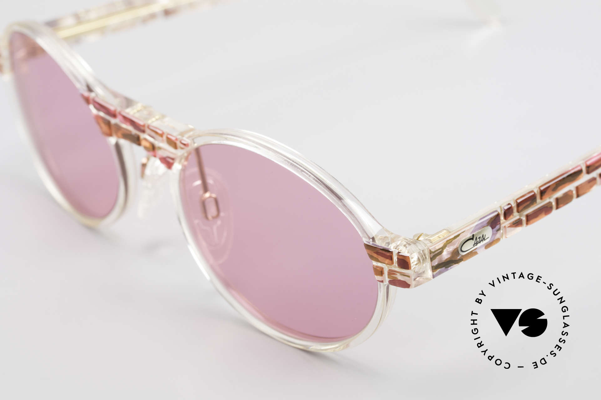 Cazal 510 Oval Pink Vintage Sunglasses, fantastic combination of shape, colors and materials, Made for Women