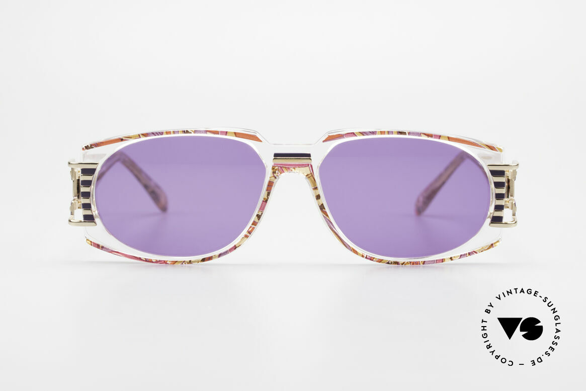 Cazal 372 Rare HipHop Sunglasses 90's, terrific / stunning color concept: raspberry-lilac patterned, Made for Men and Women