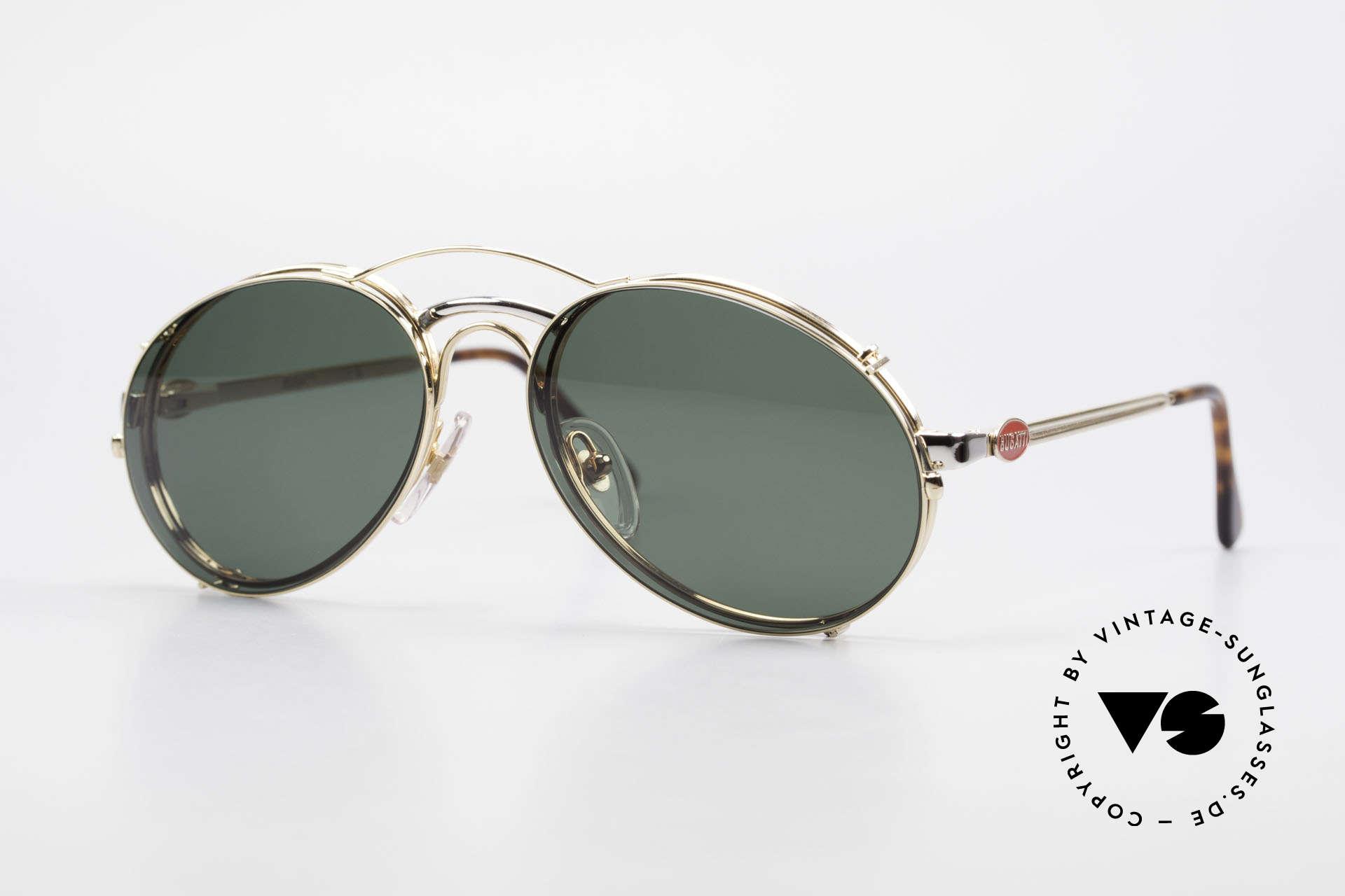 Bugatti 03308 Men's 80's Glasses With Clip On, classic Bugatti 'sunglass' design' from approx. 1989, Made for Men