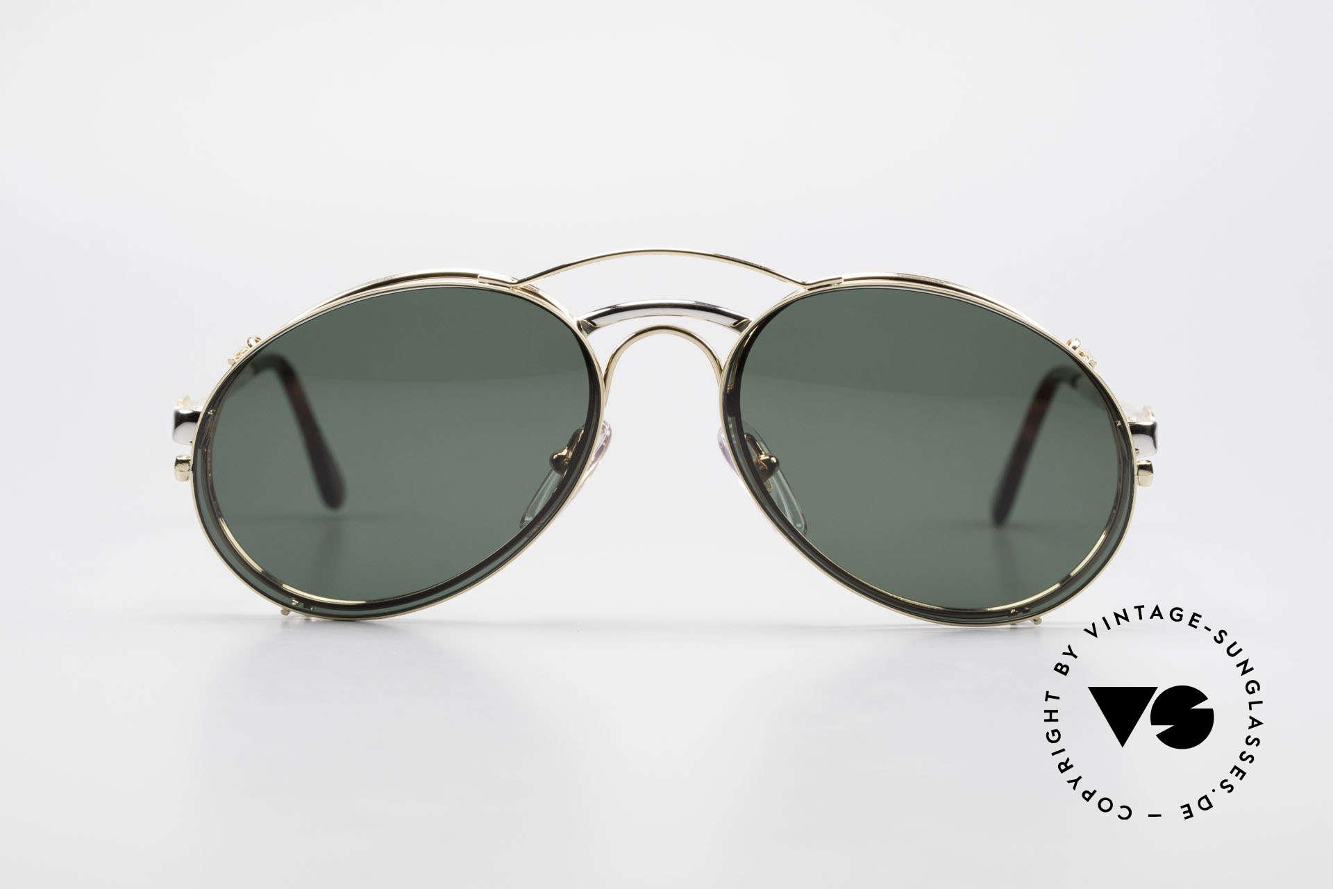 Bugatti 03308 Men's 80's Glasses With Clip On, distinctive Bugatti 'tear drop' shape; in 50mm size, Made for Men