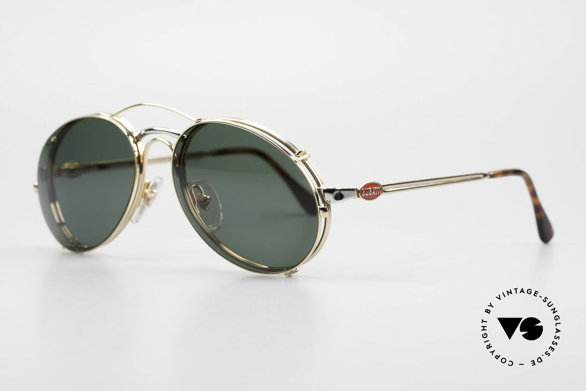 Bugatti 03308 Men's 80's Glasses With Clip On, with flexible spring hinges (1. class wearing comfort), Made for Men