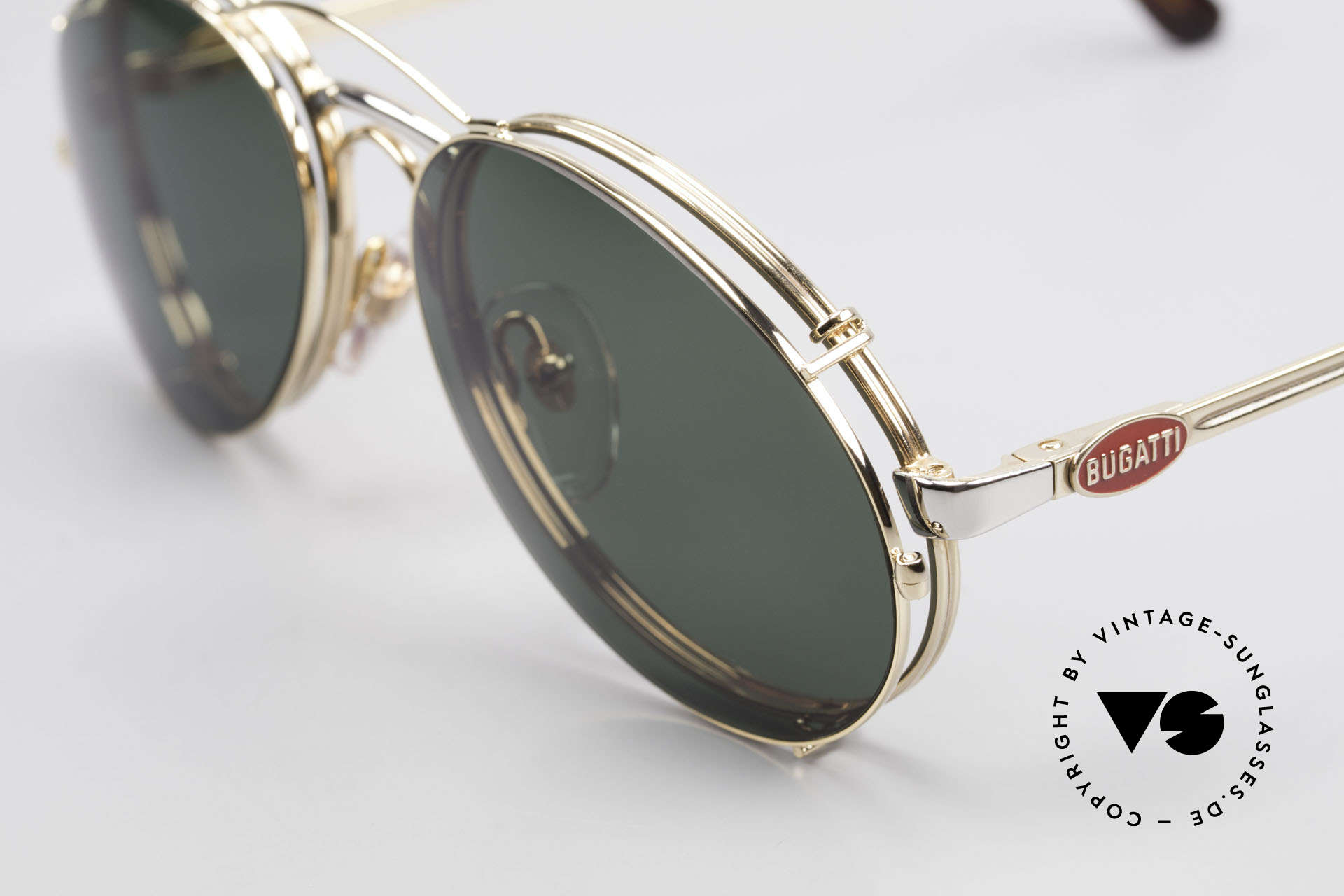 Bugatti 03308 Men's 80's Glasses With Clip On, bicolor frame (gold & silver) with practical CLIP-ON, Made for Men