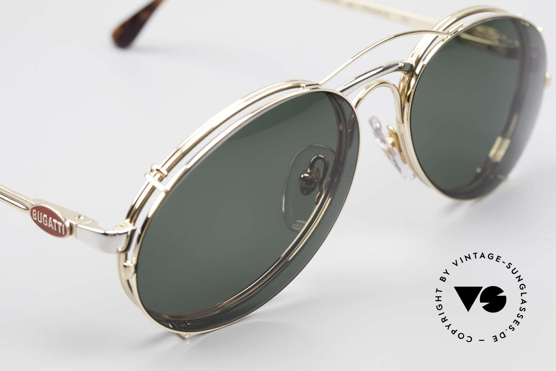 Bugatti 03308 Men's 80's Glasses With Clip On, unworn (like all our vintage Bugatti designer shades), Made for Men