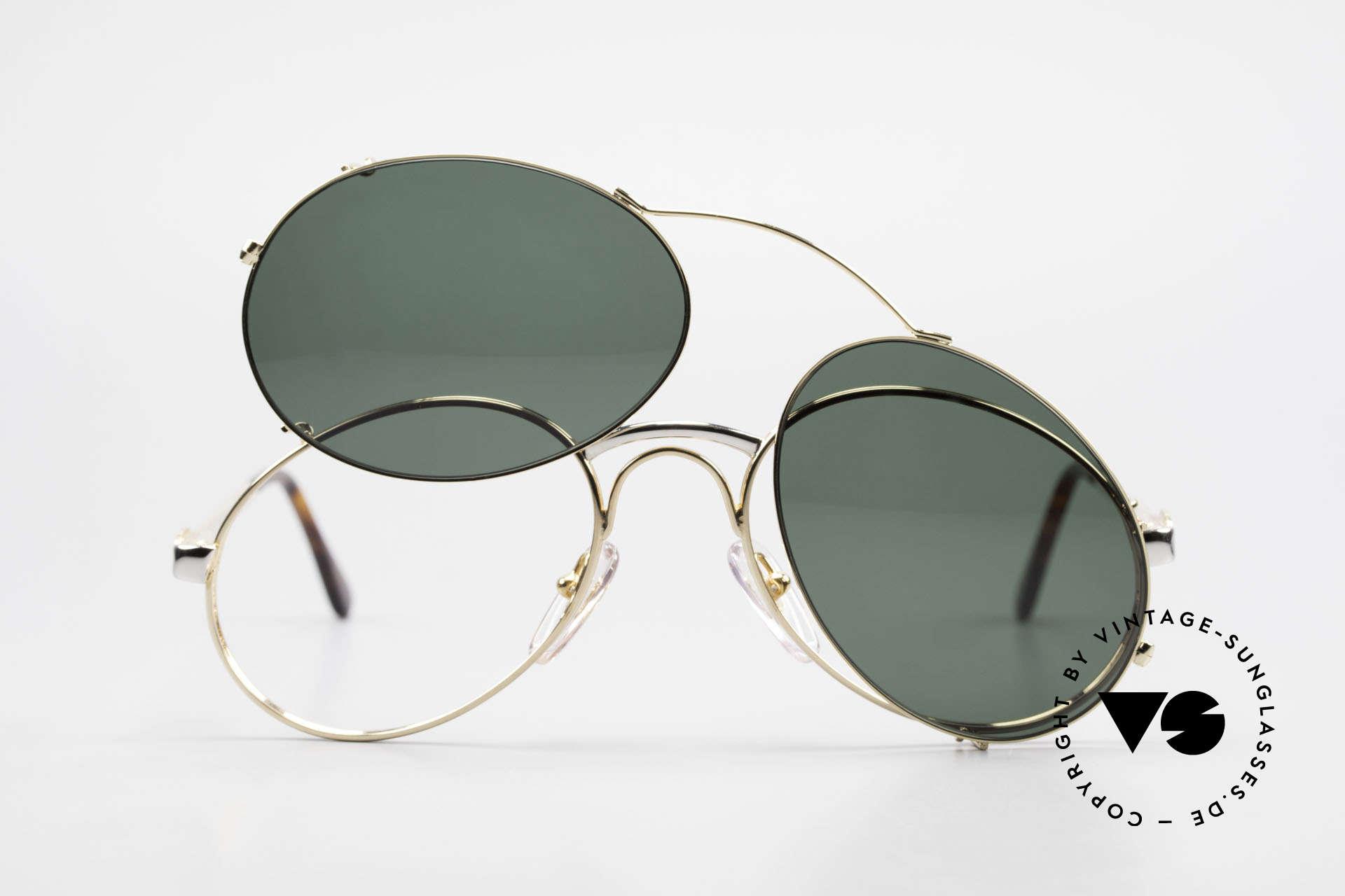 Bugatti 03308 Men's 80's Glasses With Clip On, NO RETRO fashion, but an authentic old 80's original, Made for Men