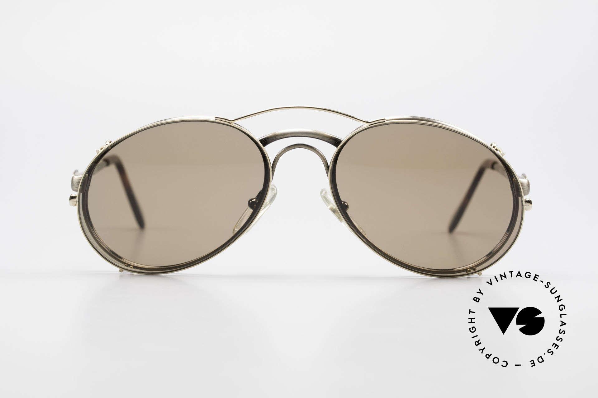 Bugatti 03323 Men's 80's Frame With Clip On, distinctive Bugatti 'tear drop' shape; in 50mm size, Made for Men