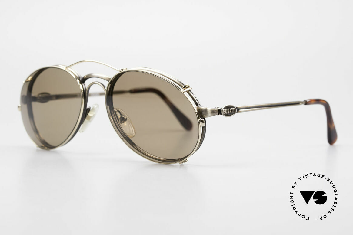 Bugatti 03323 Men's 80's Frame With Clip On, with flexible spring hinges (1. class wearing comfort), Made for Men
