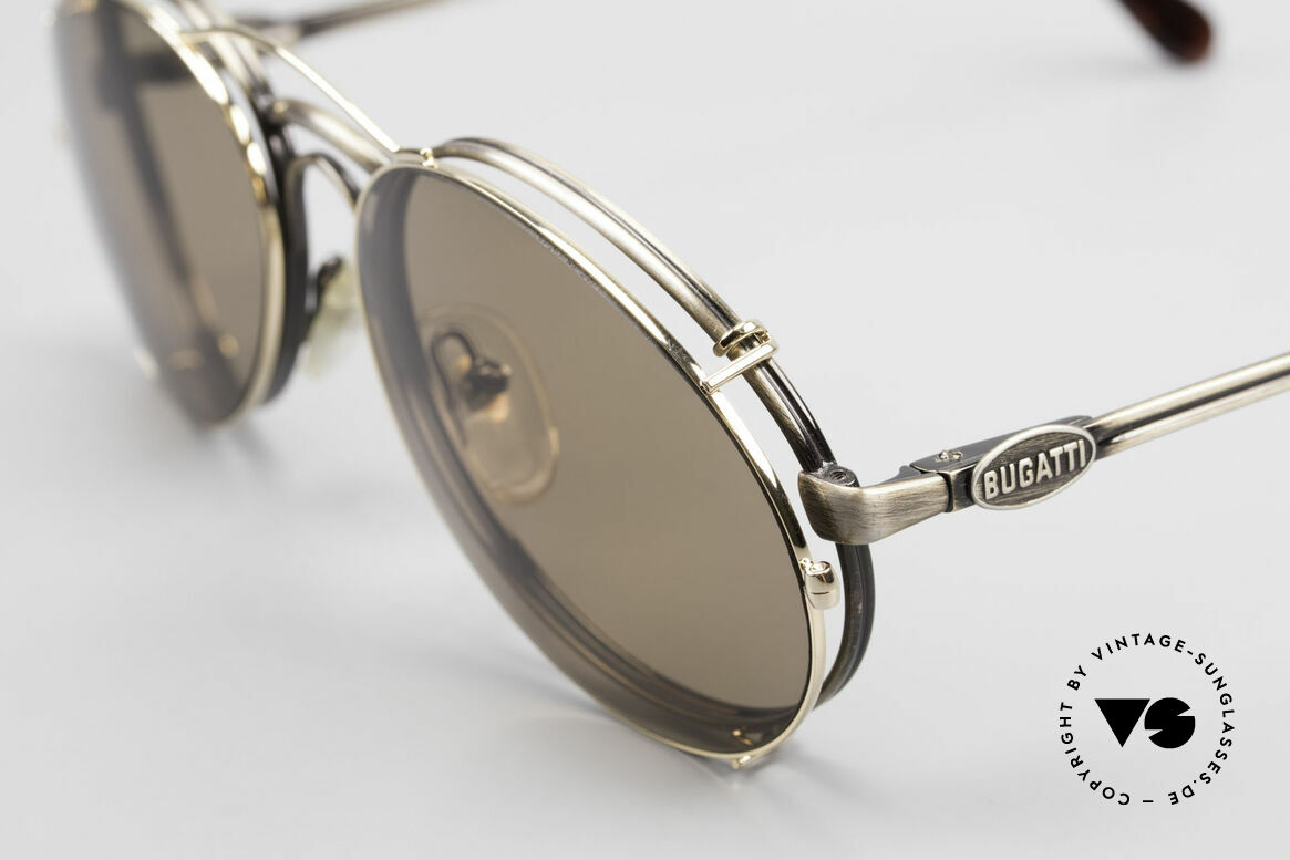 """Bugatti 03323 Men's 80's Frame With Clip On, """"antique metal"""" frame & golden clip-on; very noble!, Made for Men"""