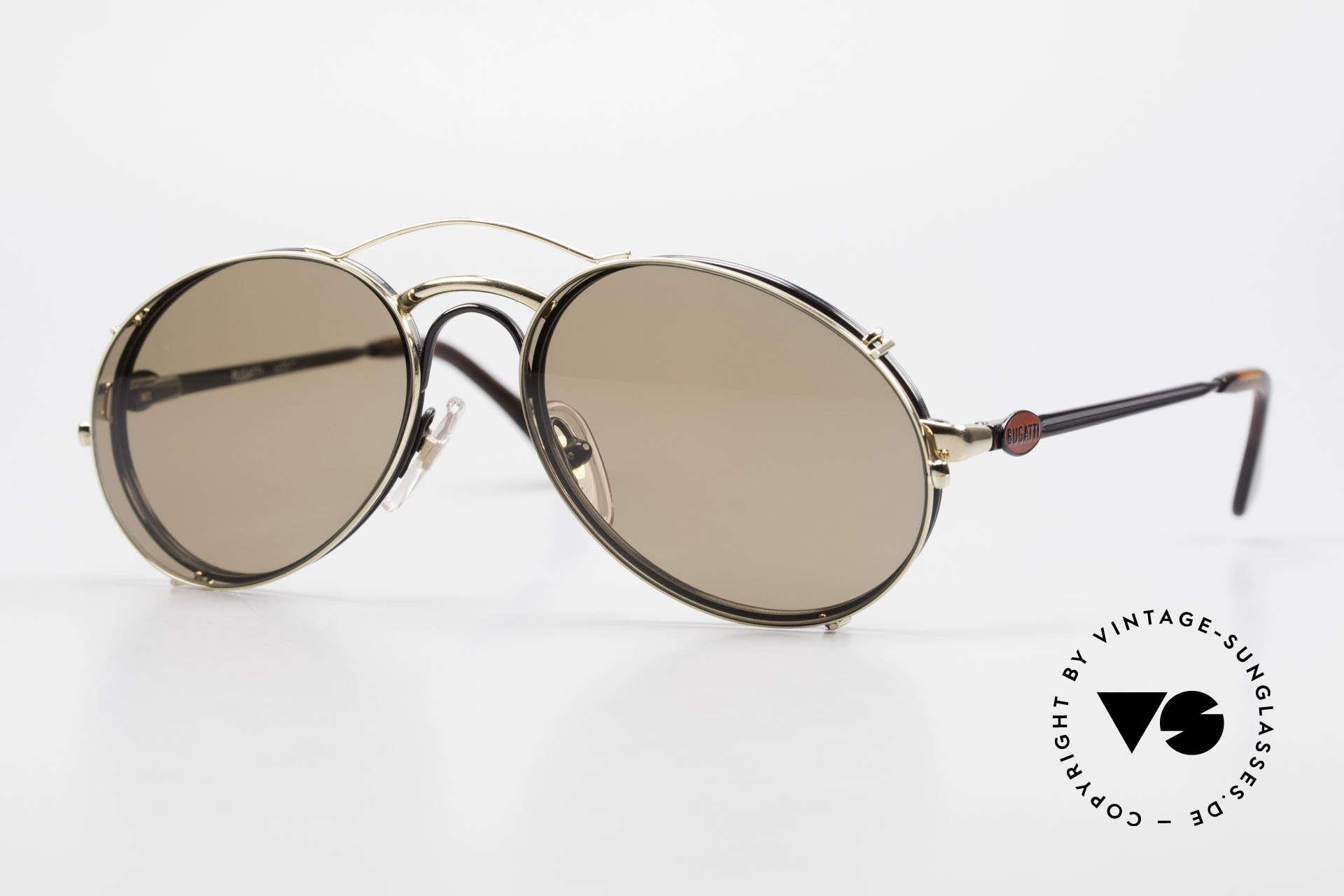 Bugatti 03326 Men's 80's Eyeglasses Clip On, classic vintage Bugatti sunglasses from approx. 1989, Made for Men