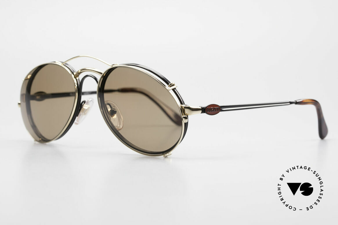 Bugatti 03326 Men's 80's Eyeglasses Clip On, with flexible spring hinges (1. class wearing comfort), Made for Men