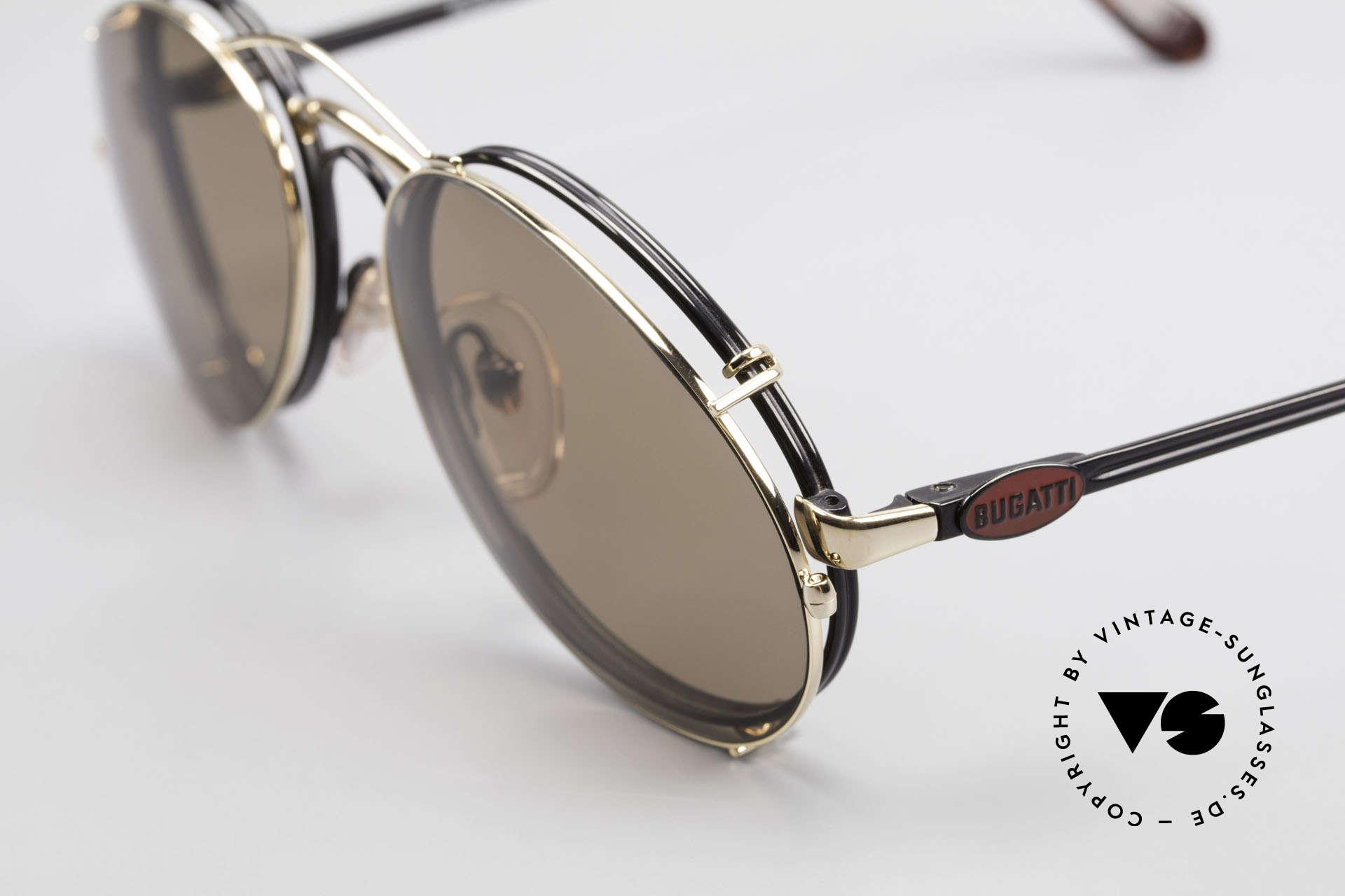 Bugatti 03326 Men's 80's Eyeglasses Clip On, very noble: black frame, red Bugatti logo, golden clip, Made for Men