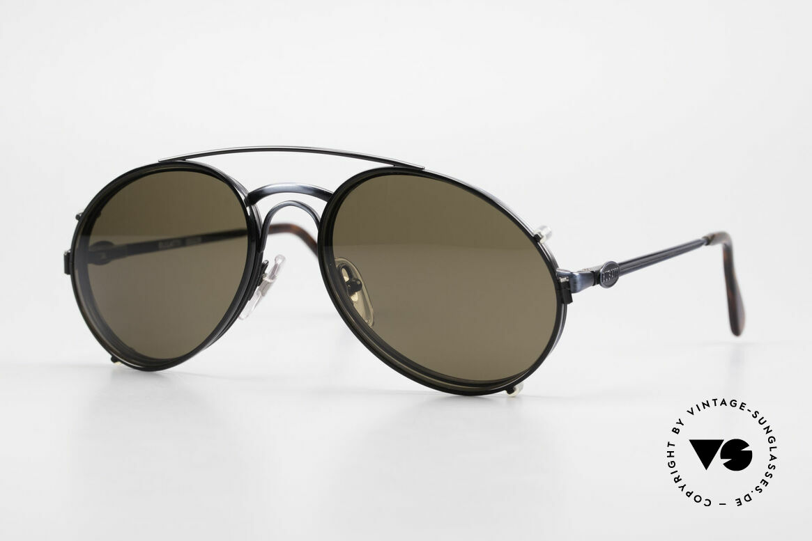Bugatti 03328 Men's 80's Sunglasses Clip On, classic vintage Bugatti sunglasses from approx. 1989, Made for Men