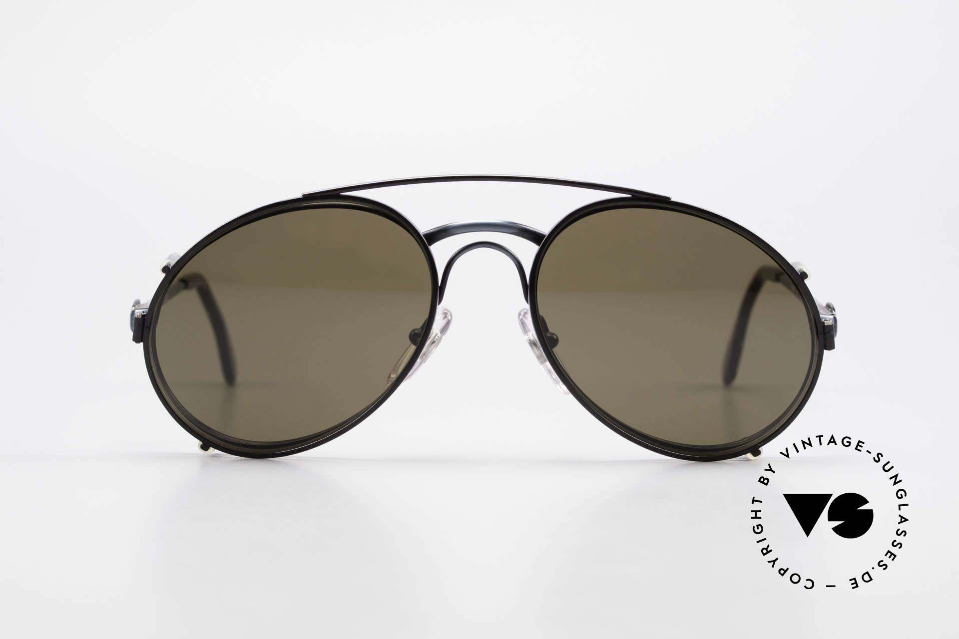 Bugatti 03328 Men's 80's Sunglasses Clip On, distinctive BUGATTI 'tear drop' shape; in 52mm size, Made for Men