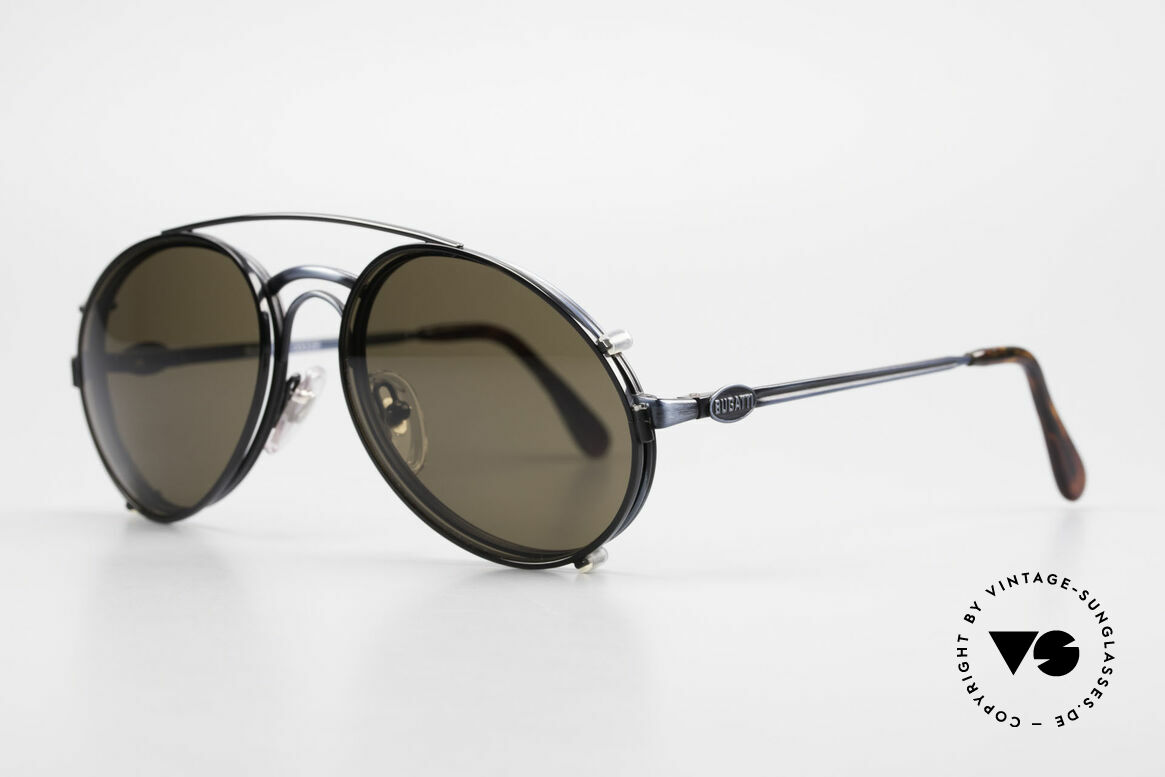 "Bugatti 03328 Men's 80's Sunglasses Clip On, ""antique blue"" frame with black clip-on; very dressy!, Made for Men"