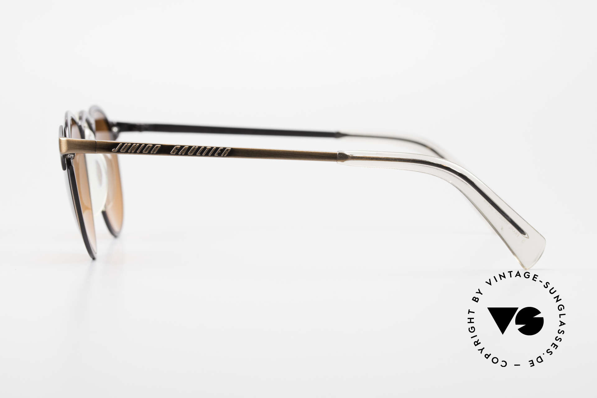 """Jean Paul Gaultier 57-0174 90's JPG Panto Sunglasses, """"antique bronze"""" frame with lenses in """"sunset red"""", Made for Men"""
