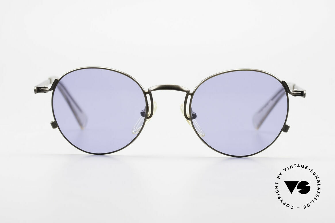 Jean Paul Gaultier 57-1171 90's Designer Sunglasses JPG, unique frame finish (in a kind of 'taupe' metallic), Made for Men and Women