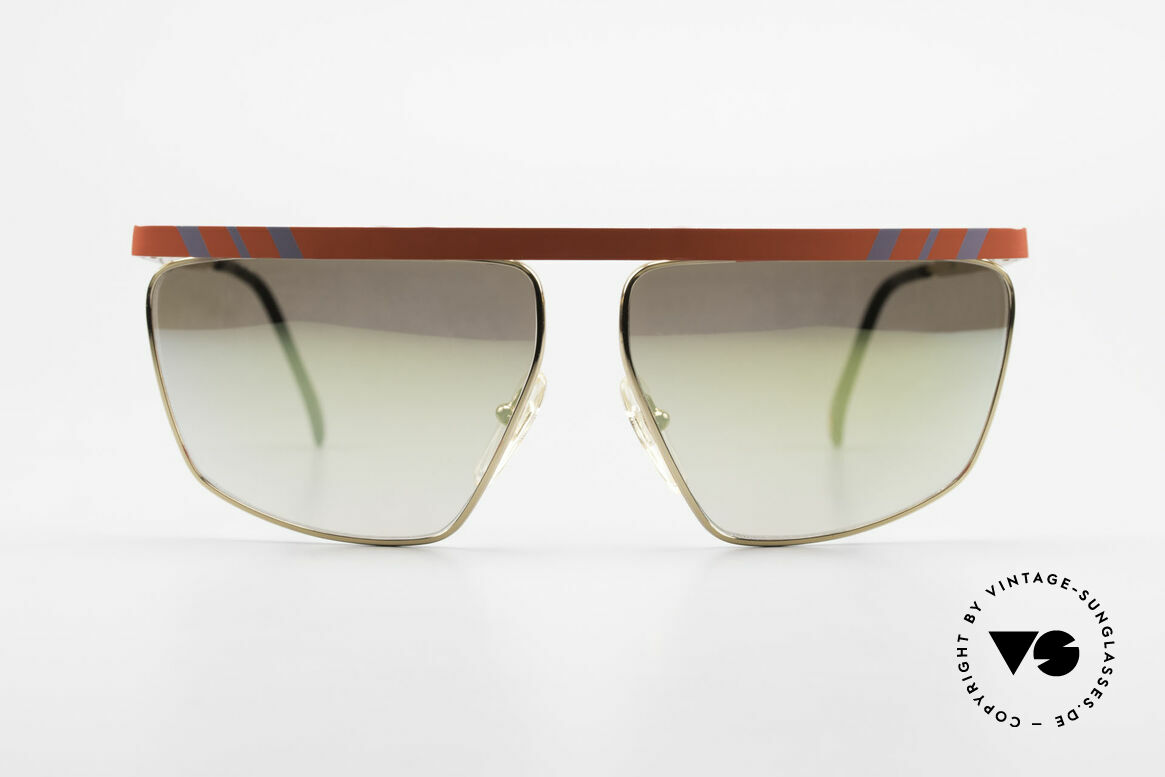 Casanova CN7 Luxury Sunglasses Mirrored, GOLD-PLATED frame with red bar and gray stripes, Made for Men and Women