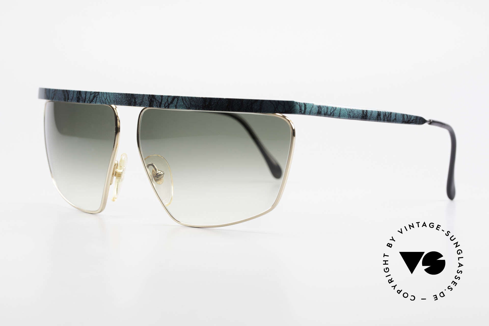 Casanova CN7 Luxury Sunglasses Gold-Plated, green-gradient sun lenses (for 100% UV protection), Made for Men and Women
