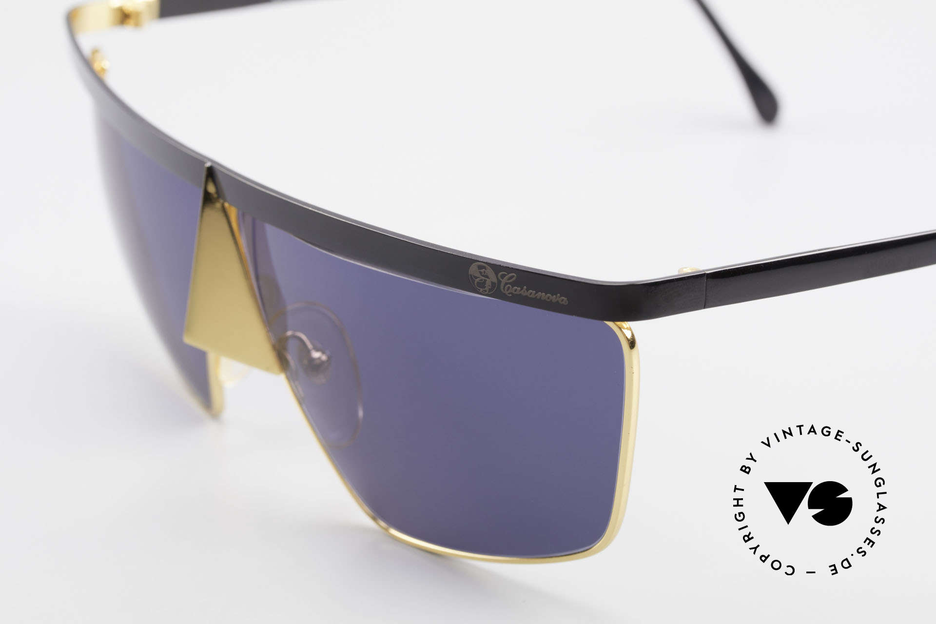 Casanova FC10 24kt Noseguard Sunglasses, metal frame is shaped like a mysterious carnival mask, Made for Men and Women