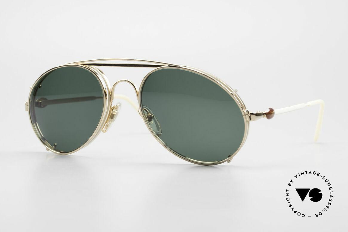 Bugatti 65987 Gold Plated Frame Clip On, rare VINTAGE Bugatti 80's luxury sunglasses, Made for Men