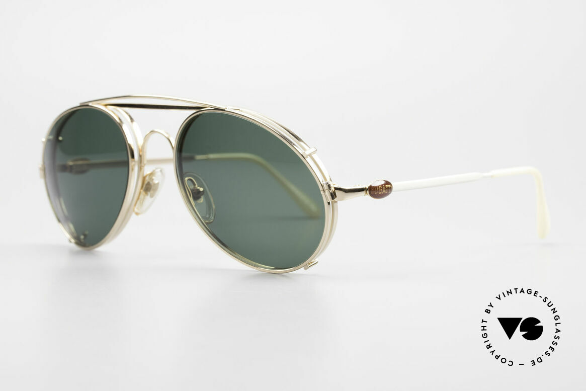 Bugatti 65987 Gold Plated Frame Clip On, sun clip with green sun lenses (100% UV prot.), Made for Men