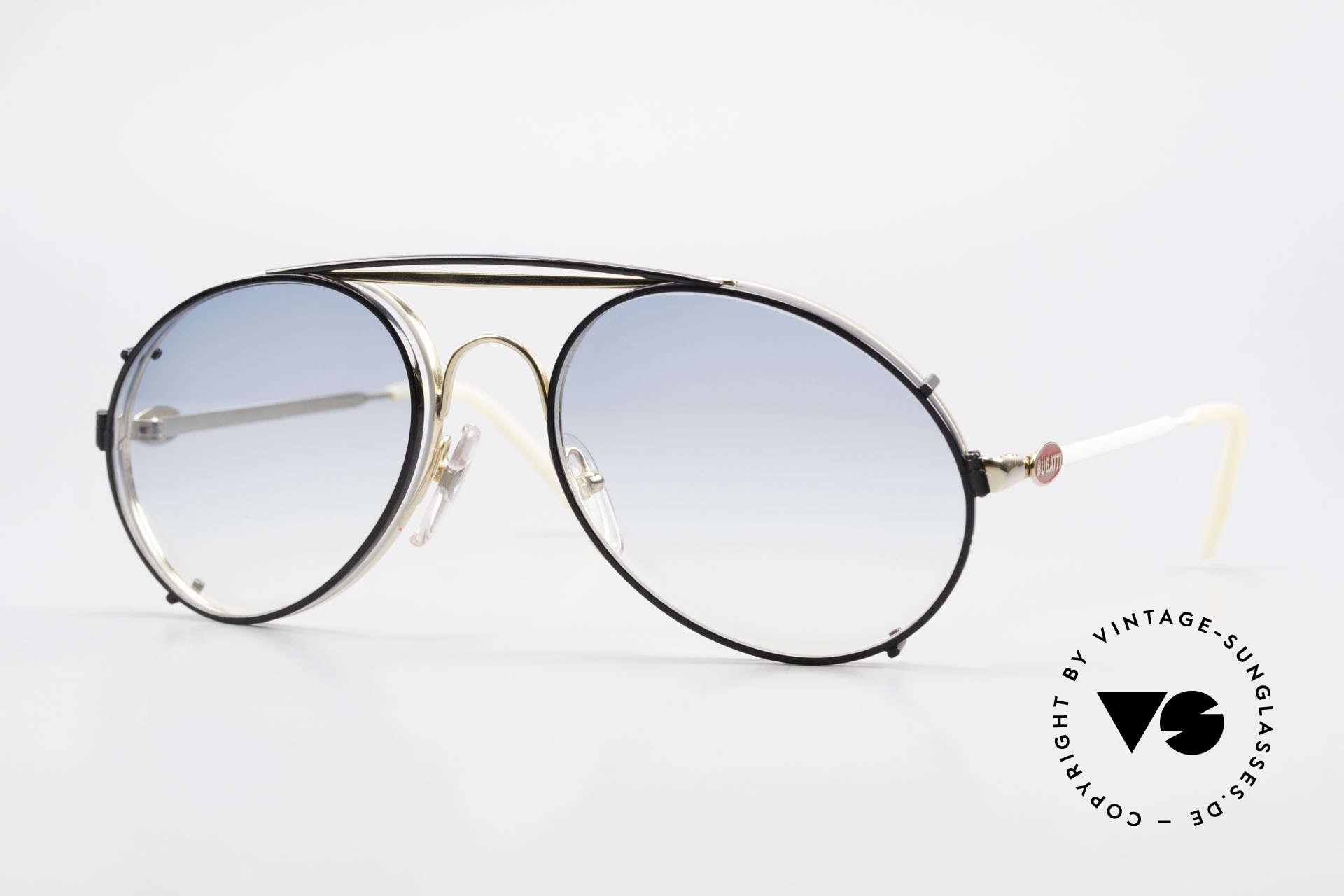 Bugatti 65987 Vintage Frame With Clip On, rare VINTAGE Bugatti 80's luxury sunglasses, Made for Men