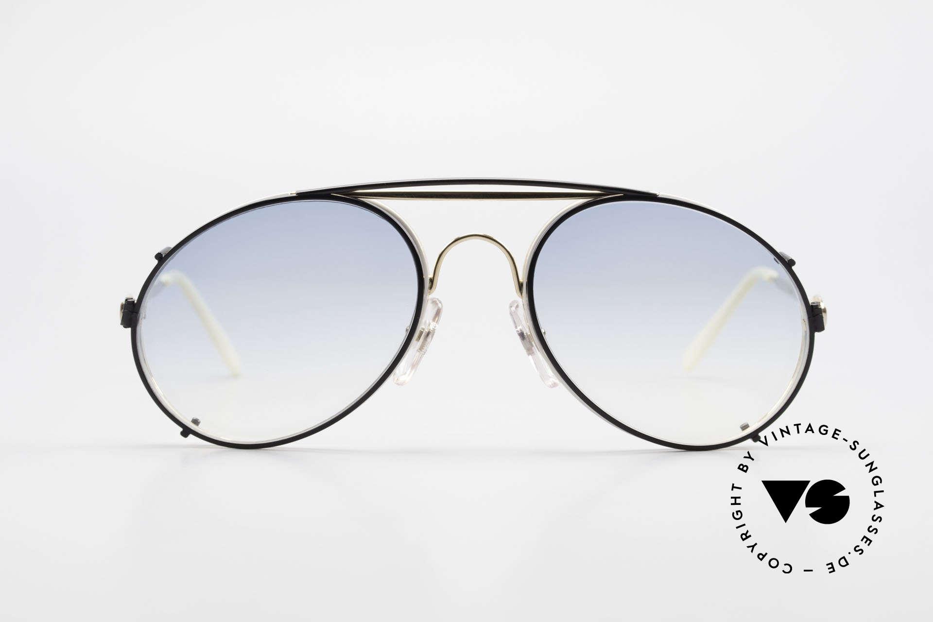 Bugatti 65987 Vintage Frame With Clip On, legendary vintage BUGATTI 'tear drop' design, Made for Men