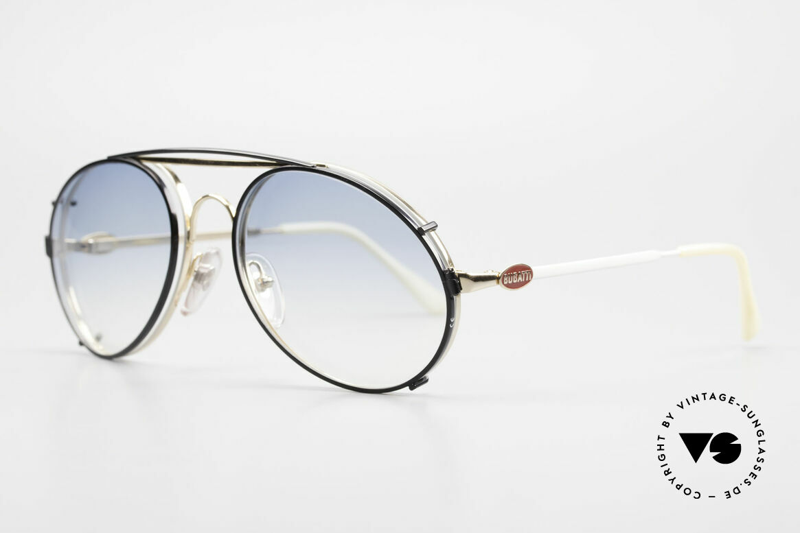 Bugatti 65987 Vintage Frame With Clip On, eyeglass-frame with practical clip (sun lenses), Made for Men