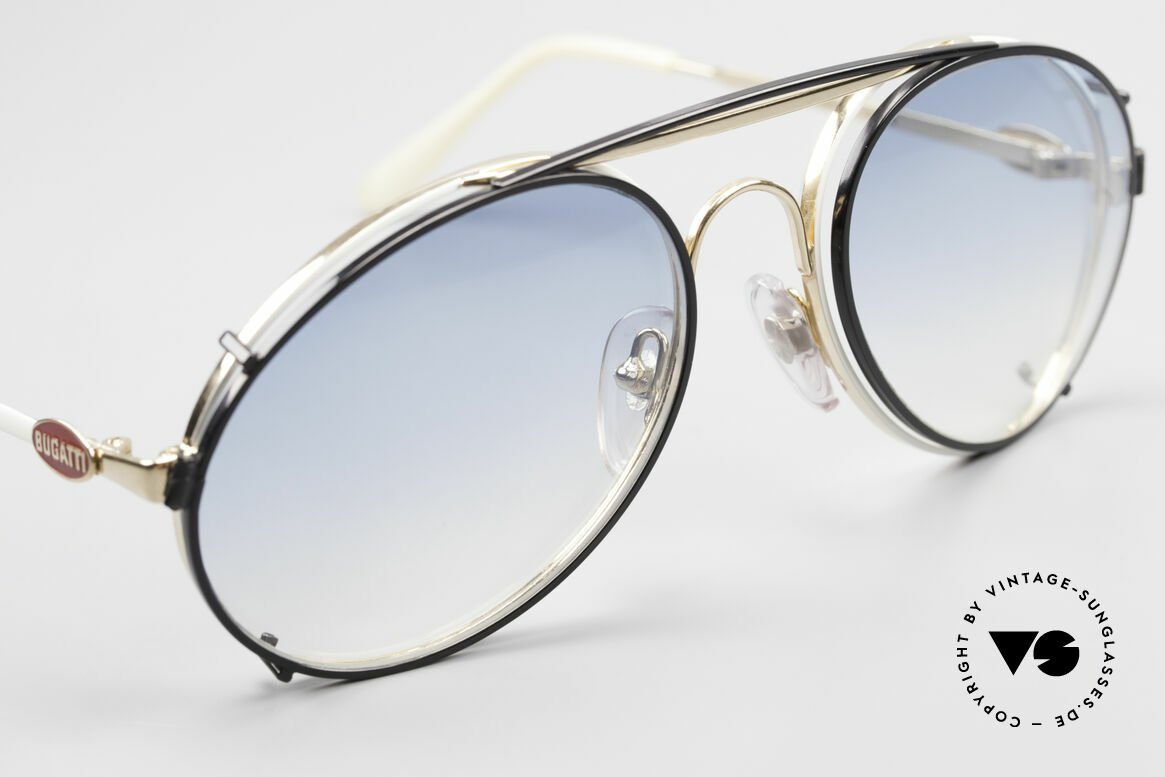 Bugatti 65987 Vintage Frame With Clip On, BLACK sun clip with BLUE-gradient sun lenses, Made for Men
