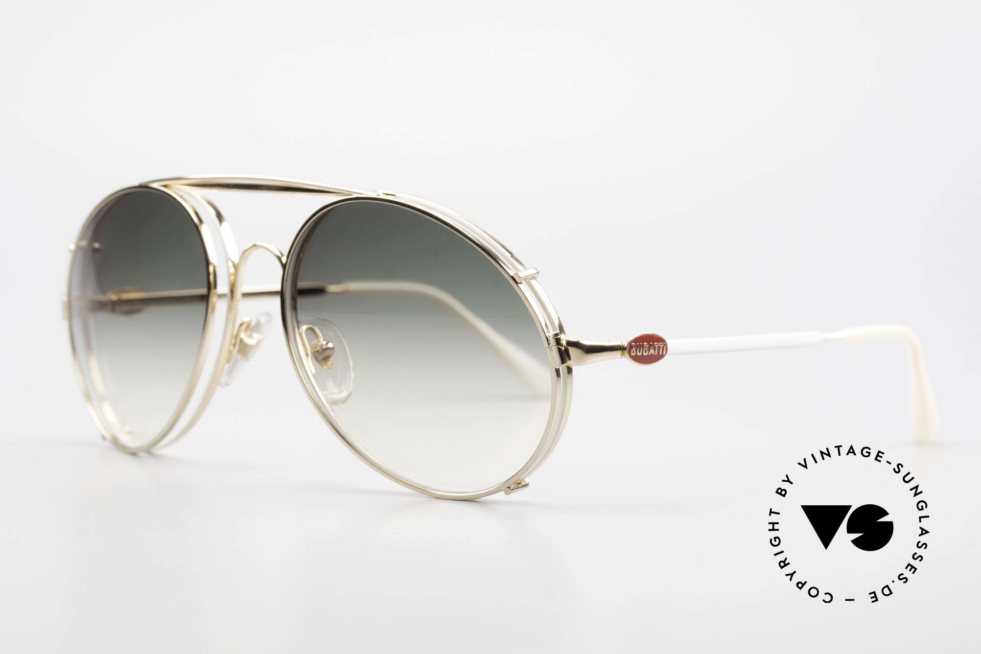 Bugatti 65987 XL 80's Vintage Frame Clip On, eyeglass-frame with practical clip (sun lenses), Made for Men