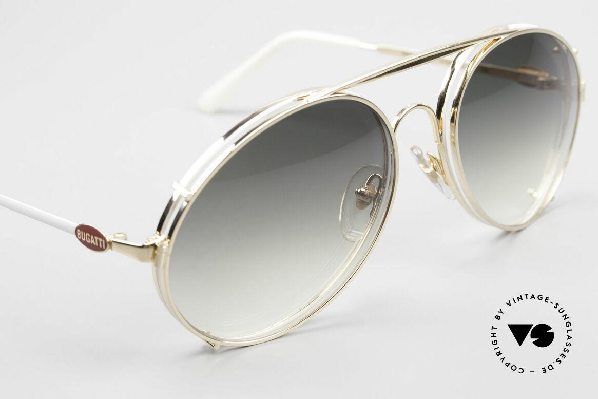 Bugatti 65987 XL 80's Vintage Frame Clip On, sun clip with green-gradient plastic sun lenses, Made for Men
