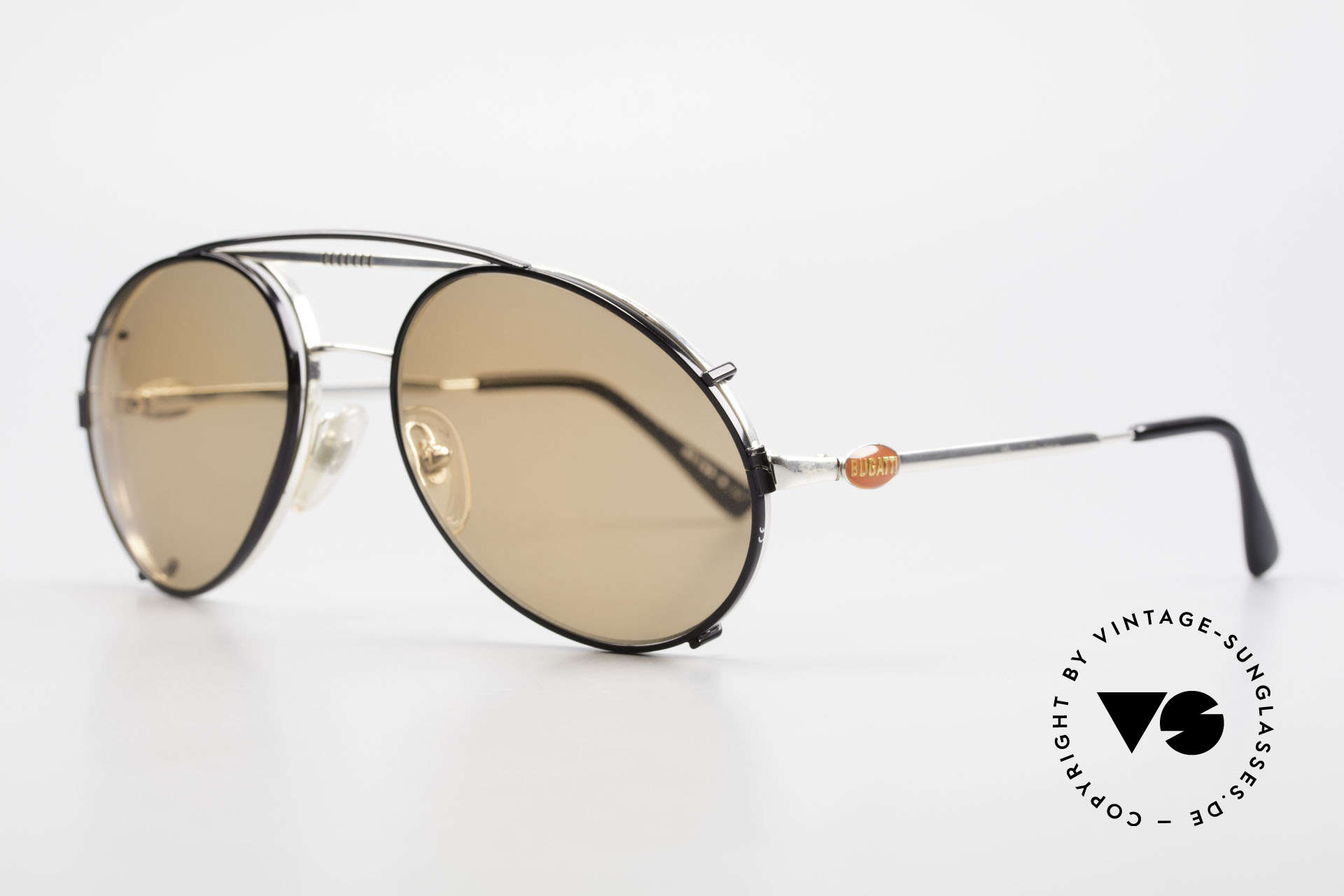 Bugatti 65996 Vintage Frame With Clip On, eyeglass-frame with practical clip (sun lenses), Made for Men