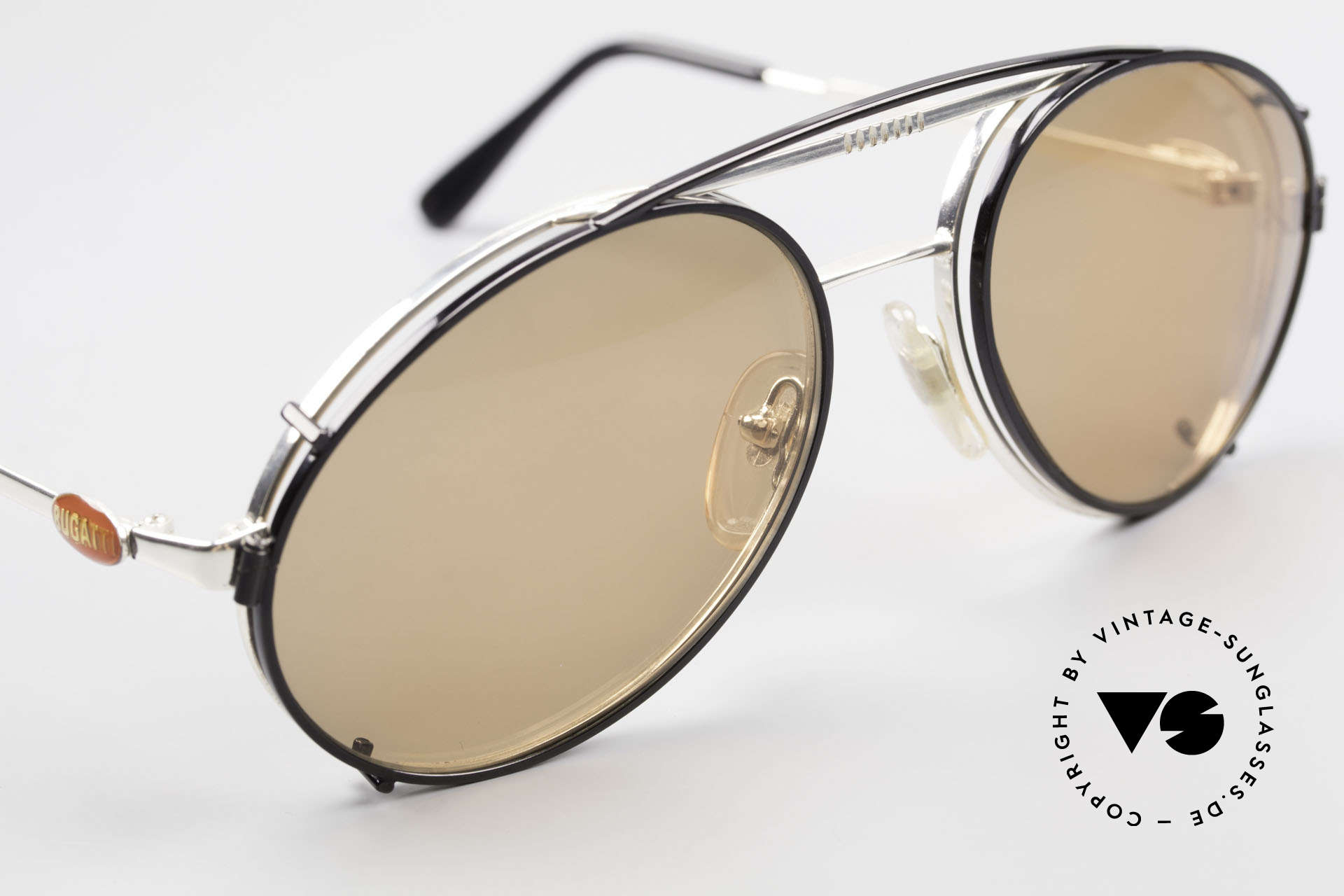 Bugatti 65996 Vintage Frame With Clip On, BLACK clip-on with brown sun lenses (100% UV), Made for Men