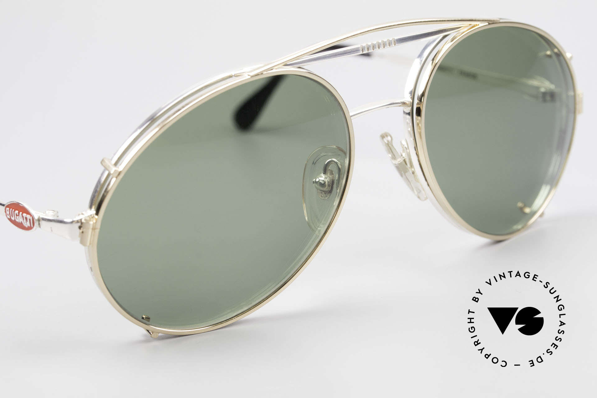 Bugatti 65996 80s Vintage Frame With Clip On, golden clip-on with green sun lenses (100% UV), Made for Men